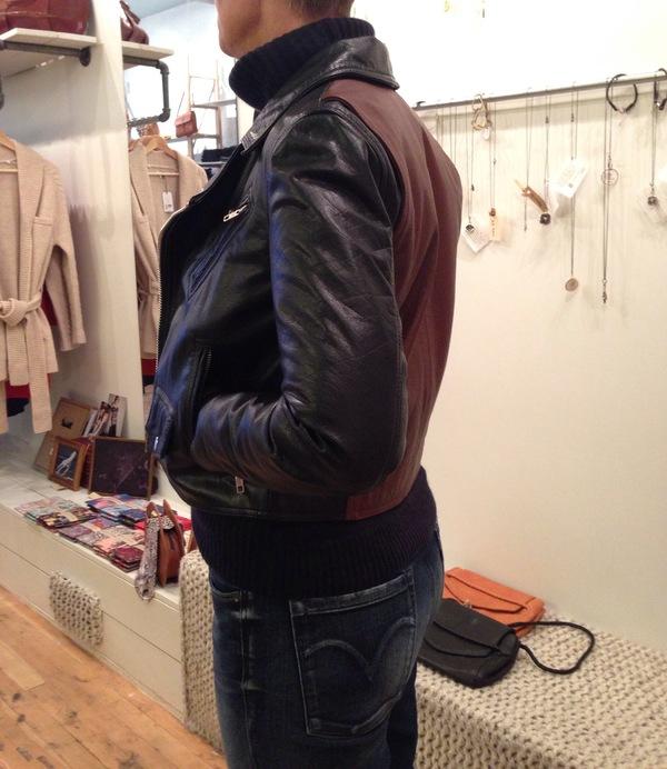Wood Wood contrast panel biker jacket