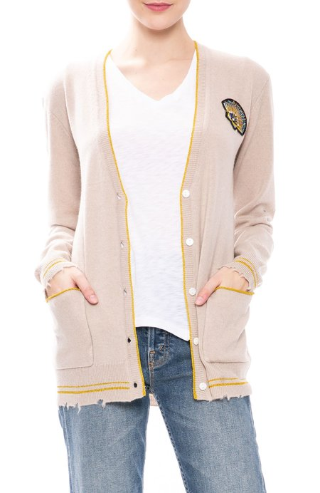 Le Superbe Cashmere BF Cardigan with Shell Patch - Sand