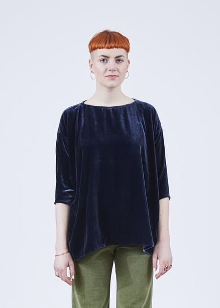 Hannes Roether Residency Tommy Velvet Blouse - Navy