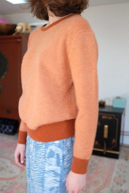 Beklina Cashmere Ribbed Crew Sweater - Vino/Squash