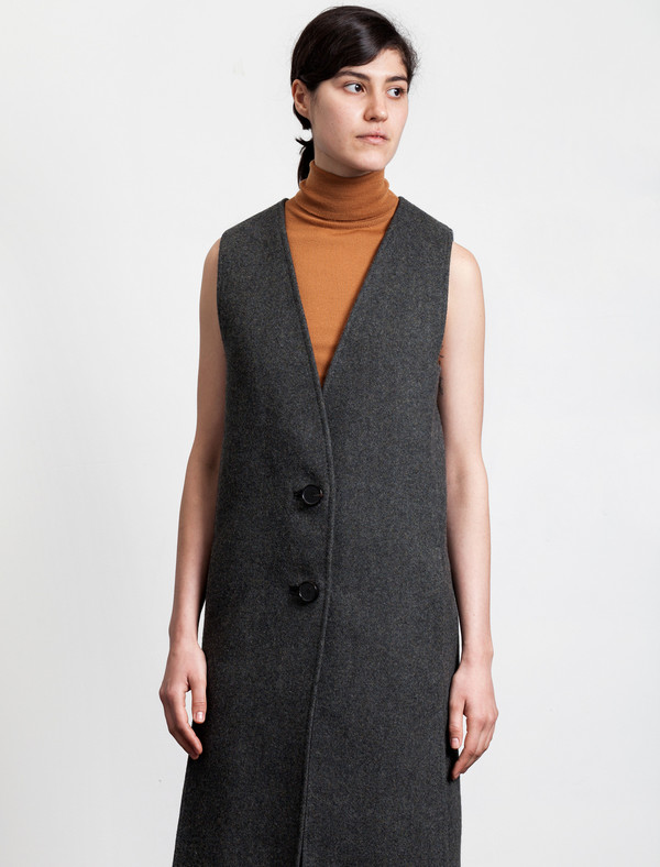 Lemaire Long Vest Wool Graphite