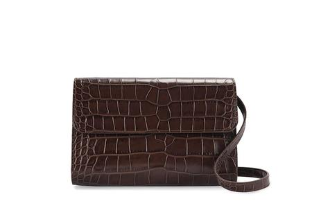 By Far Embossed Leather Crossover - Nutella Croco