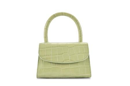 BY FAR Mini Croco Embossed Leather bag - Sage Green