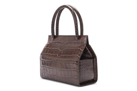 By Far Embossed Leather Val Bag - Nutella Croco