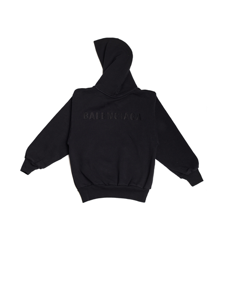 Kids Balenciaga Cotton Embroidered Hoodie - Black