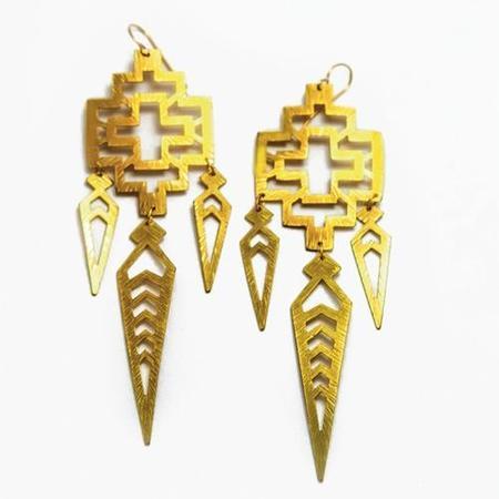 Nikki Jacoby Ninazu Earrings - Brass