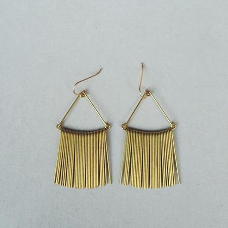 Hellbent Triangular Fringe Earrings - Brass