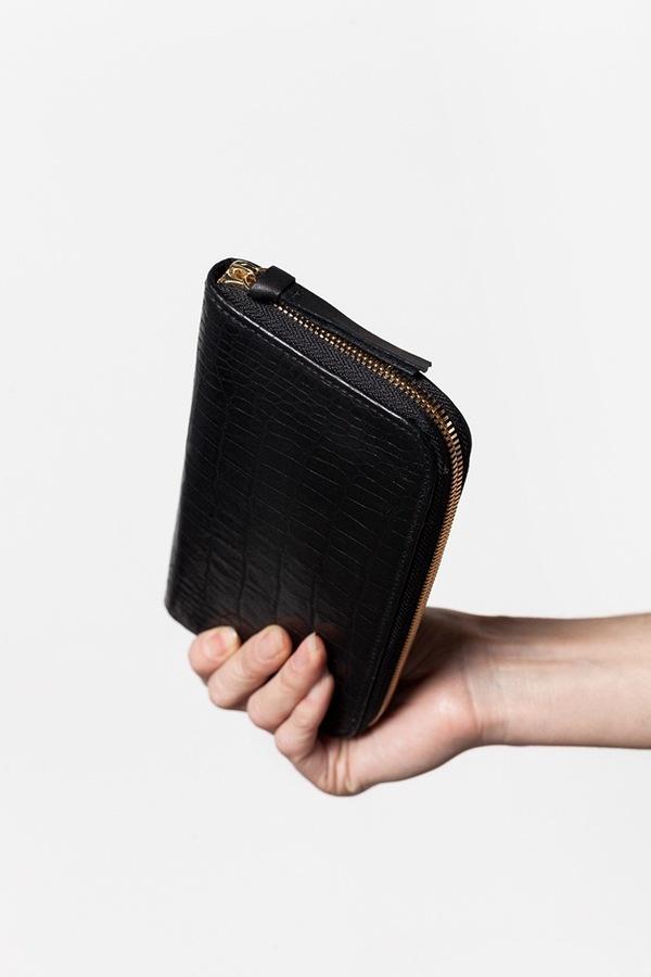 Clare V. Zip Wallet in Black Alligator