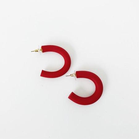 Sea + Pattern Circlet Earrings - Red