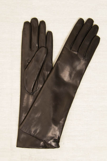 Fratelli Orsini Long Rabbit Fur Lined Gloves - BLACK