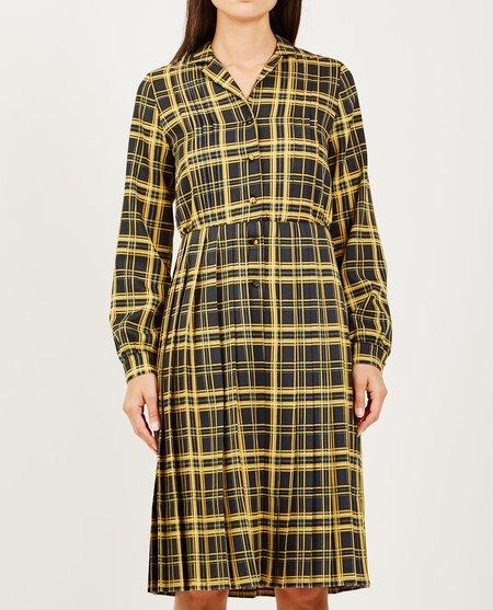 NEUL SHIRTWAIST PLEATED DRESS - BLACK/GOLD