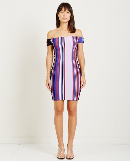 Opening Ceremony STRIPED OFF THE SHOULDER DRESS - PURPLE