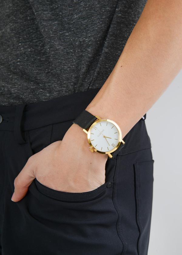 Berg + Betts Gold Round Watch in Black