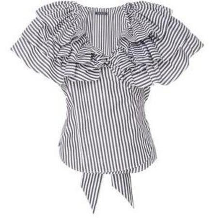 MDS Stripes Lexi Ruffle Top - Black Stripe