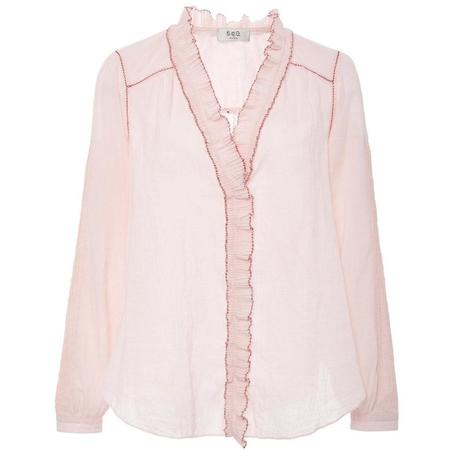 Sea New York Seraphina Long Sleeve Ruffle Blouse - PINK