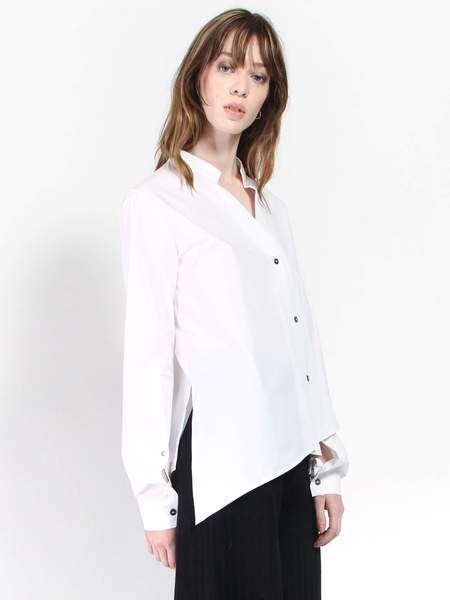 Ji Oh Unbalanced Shirt - White