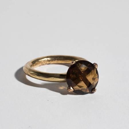 Unearthen Jewelry Brass and Smokey Quartz Ring