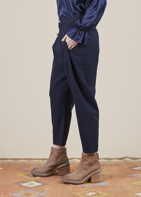 Sibel Saral Havuch Double Pleat Pant - navy/pinstripe