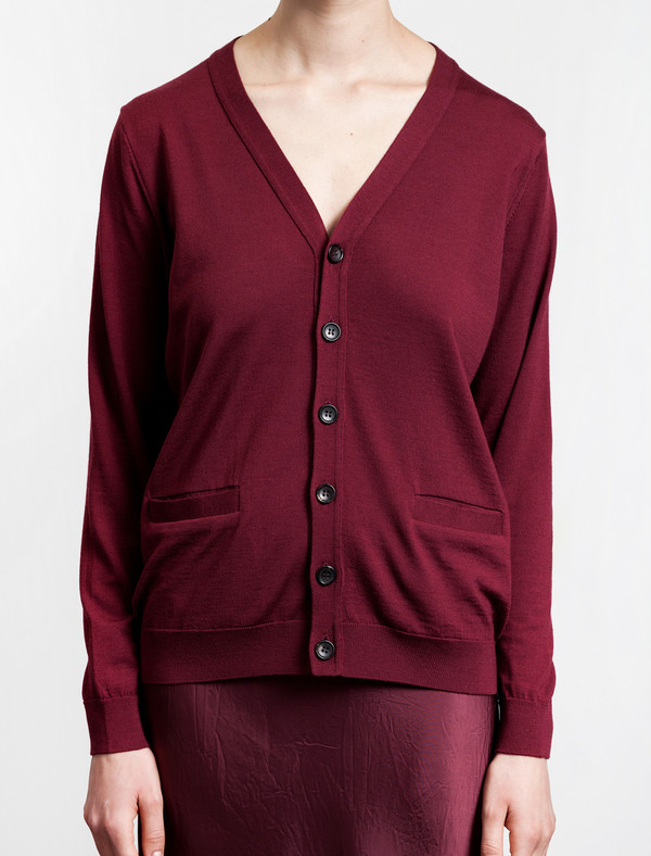 Niuhans Wool Cardigan Wine