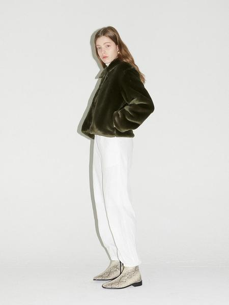 CURRENT Fur Crop Jacket - Khaki