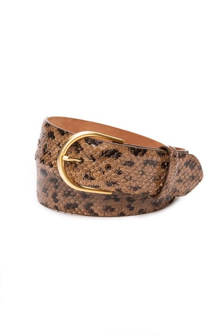 W. Kleinberg Anaconda Belt with Gold Buckle - Mink