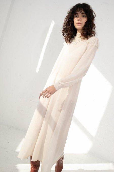 Ryan Roche Ornate Crochet Top Maxi Dress - Ivory