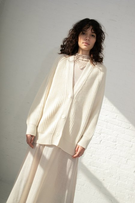 Ryan Roche Oversized Ribbed Cardigan - Ivory