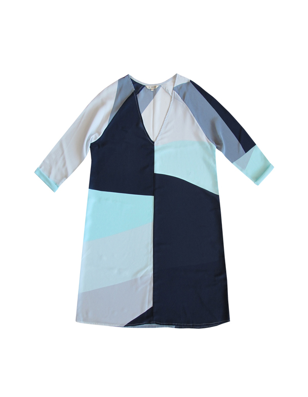 ALI GOLDEN RAGLAN DRESS - BLUES