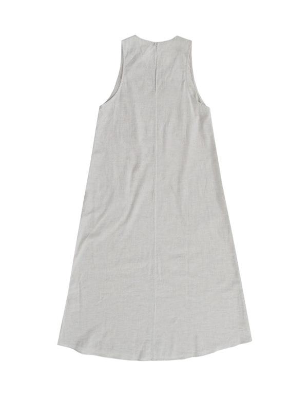 ALI GOLDEN SCOOP NECK DRESS - OATMEAL
