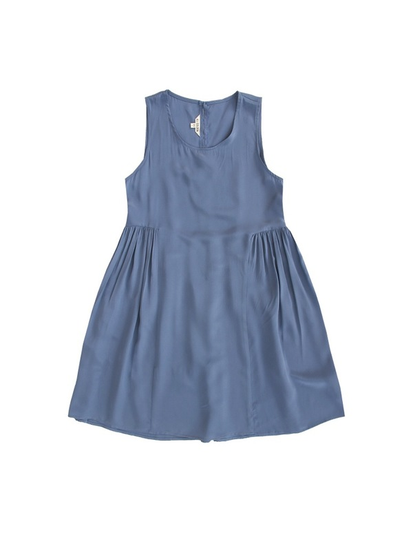 ALI GOLDEN SIDE-GATHERED DRESS - BLUE