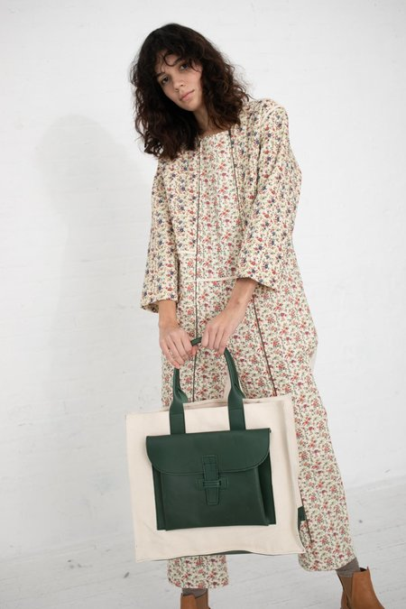 Agnes Baddoo Tote - Canvas/Green Leather