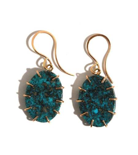 Melissa Joy Manning CAMPO FRIO TURQUOISE EARRINGS - GOLD