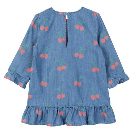 KIDS Stella McCartney Baby Long Sleeved Dress With Ruffle And Cherry Print - Blue