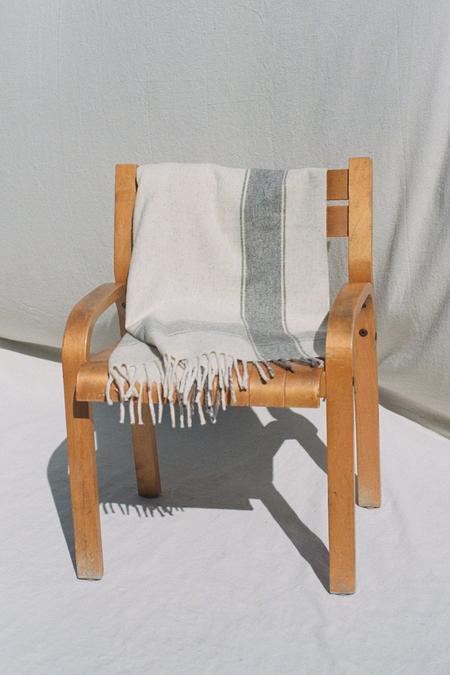 Mexchic Cruz Stripe Blanket - Cream/Grey