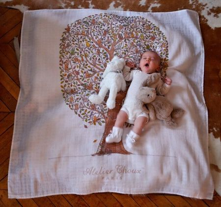 KIDS Atelier Choux Friends & Family Tree Swaddle Blanket - WHITE