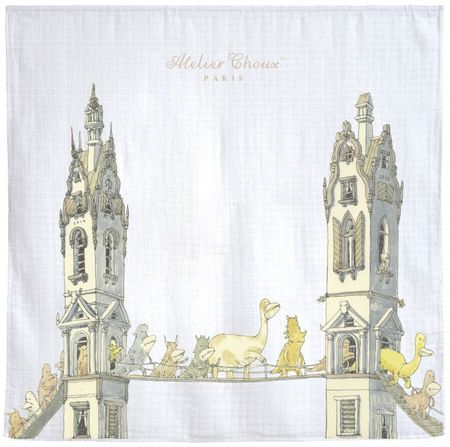 KIDS Atelier Choux Tower's Bridge Swaddle Blanket - WHITE