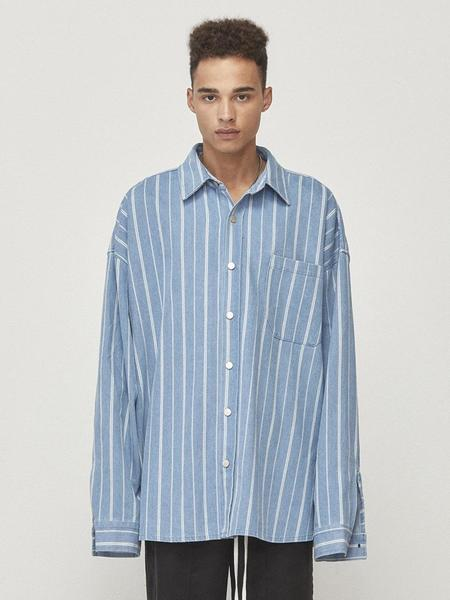 Unisex D.PRIQUE Denim Shirt Jacket - Blue Striped