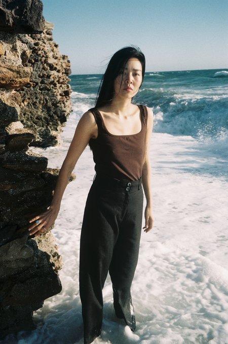 La.Bleue Pant With Ceramic Buttons - Black