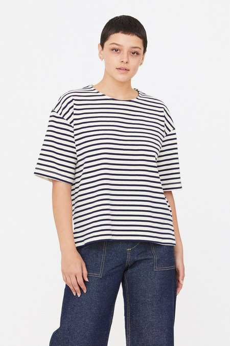 Esby Meredith Top - Natural/Midnight Stripe