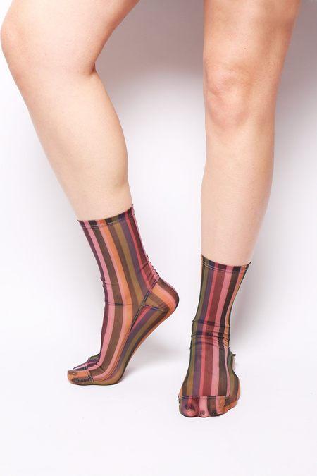 darner Mesh Striped Socks - Multicolored