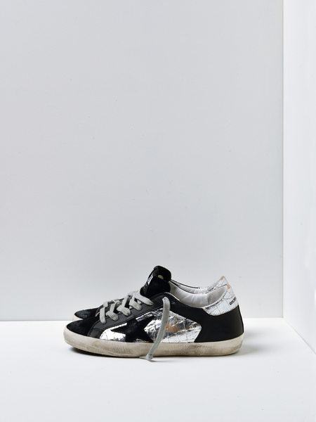 GOLDEN GOOSE DELUXE BRAND SUPERSTAR SNEAKERS - SILVER COCCO/BLACK STAR