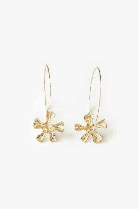 Seaworthy Small Flower Beau Hoops - Brass