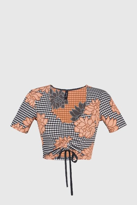 Lonely Sissy Crop - Peach Gingham