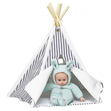 KIDS Vilac Mini Doll Teepee - Blue Stripes