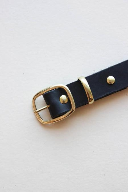 Avenue Black Leather Belt - Brass