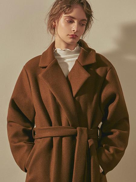 YAN13 Wrap Robe Long Coat - Brown