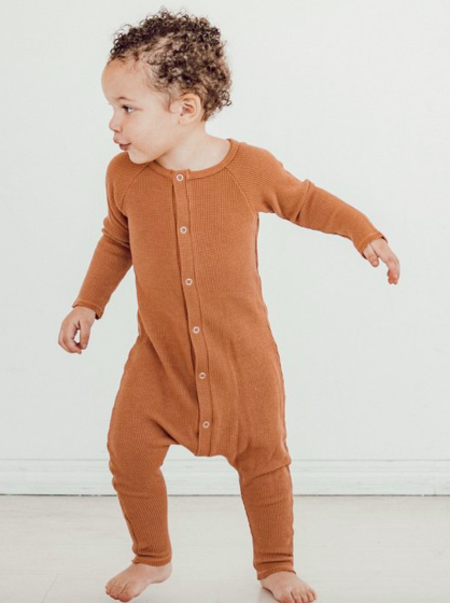 Kids Little Urban Apparel Thermal Romper - Copper
