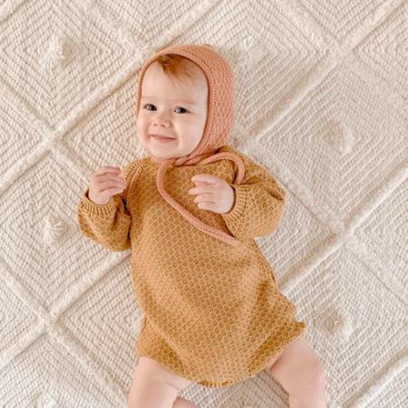 Kids Little Urban Apparel Knit Bubble Bodysuit - Golden