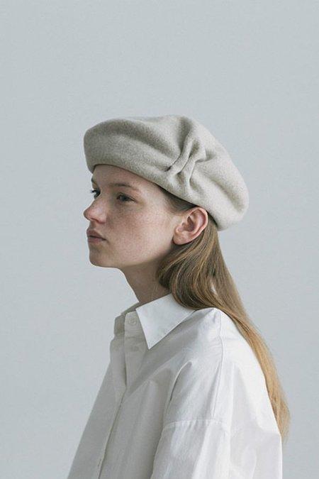 Mature Hat Tuck & Gather Rib Lamb Beret - Light Grey