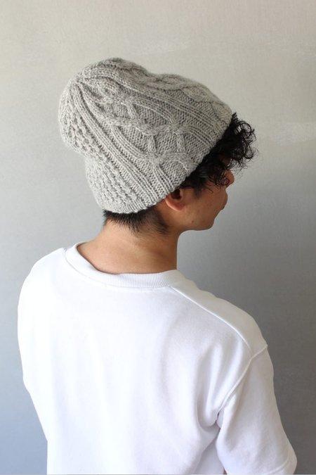 Mature Hat Slant Cutting Knit Felt Relief Cap - Light Grey